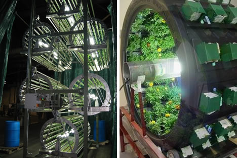photo of rotary structures for hydroponic gardening
